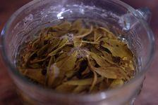 Feuilles jaunes infusées dans un verre d eau à Yi Wu