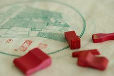 Sérigraphie artisanale et tamponage main des galettes