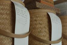 Galettes mises de coté dans des paniers de bambou pour le futur