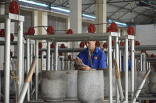 Pressage des galettes à Mengku Rong Shi