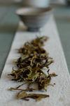 Feuille de puerh <span class='translation'>(Pu Er tea)</span> vert après infusion