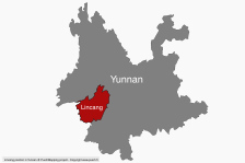 Location of Lincang in Yunnan