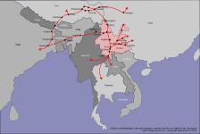 Carte des principales routes du thé